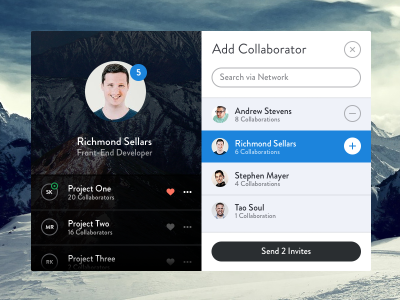 Add Collaborator - Modal (PSD) app ui psd invite buttons list sidebar profile flat icons ios search