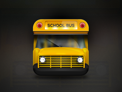 School Bus Icon icon bus school button app ios yellow lights lamps window vehicle background texture 3d iphone ipad