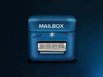 Mailbox - App icon app icon blue wip iphone ipad ios mac light shadow know paper mailbox post graffiti