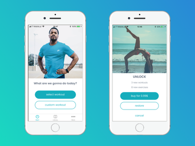 Home ABS - Workout menu and IAP wellness iosdesign ios health fitnessapp fitness cleandesign in-app-purchase