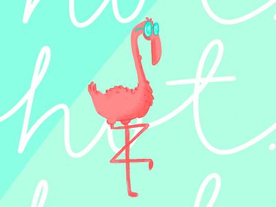 Hot Flamingo flamingos sunglasses hot lettering texture blue pink summer flamingo illustration
