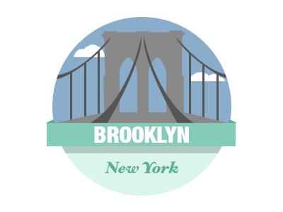 Brooklyn Bridge Badge design flat city york new bridge brooklyn