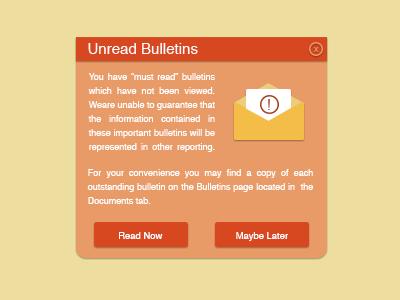 Long Notification long envelope yellow orange message warning interface