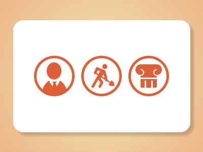 Custom Orange Icons orange tie suit profile pillar business icons