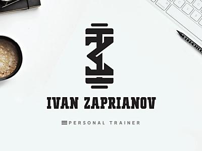 Ivan Zaprianov gym fitness logoname sports personal trainer ivanzaprianov black lettering design logo type custom