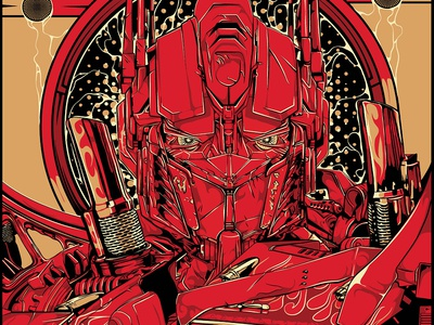Optimus Prime drawing illustration vector black red transformer poster optimus prime