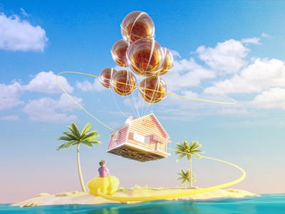 When UP meets Dragon Ball mesh up edit manipulation photoshop blender art 3d floating house kame goku dragon ball pixar disney