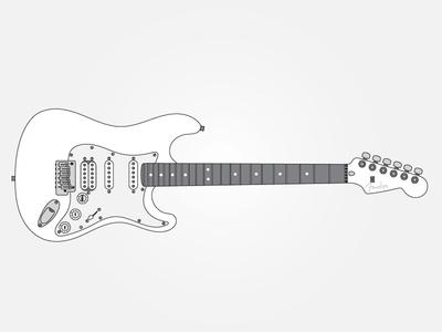 Guitar Series 02 // Strat illustration stratocaster strat fender guitar