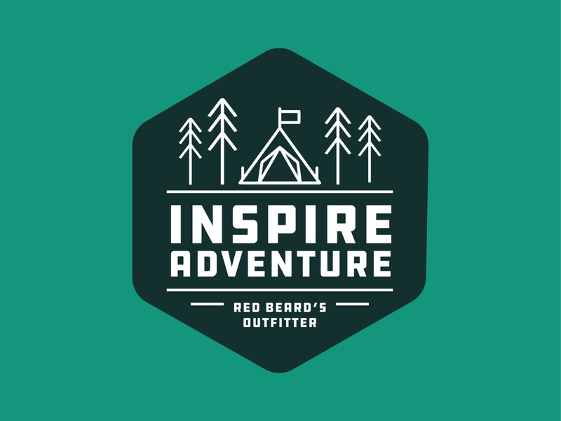 Inspire Adventure for Red Beard's Outfitter adventure outdoors icon typography vector logo graphic illustrator illustration design graphic design