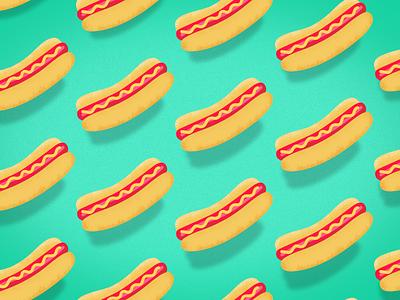 Floating Franks color pattern illustration weiner hotdog franks
