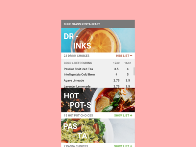 Daily UI - Food/Drink Menu