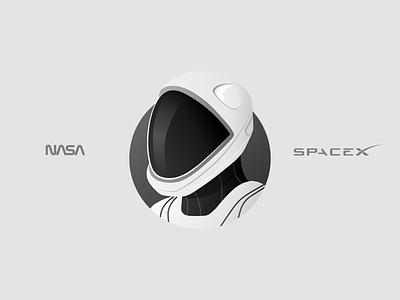 NASA  x  SpaceX dragon mission dm2 astronaut gradient illustration nasa spacex