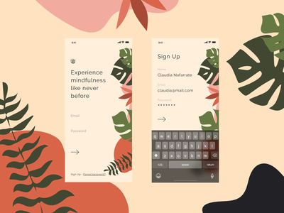Daily UI #001 - Sign Up ios concept app concept mindfulness nature sign up daily ui 001