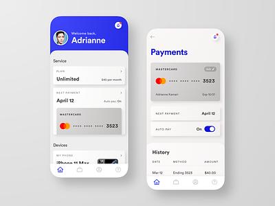 Wireless Account & Payments account payments plan wireless wireless service dashboard app design ui uiux design uiux ui design