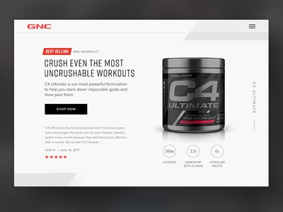 Brand Page Concept for GNC