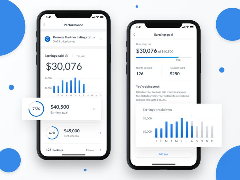 Performance Data UI data dashboard ui graphs charts finance revenue earnings ux ios mobile