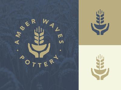 Amber Waves Pottery Logo logo design wheat pottery branding logo