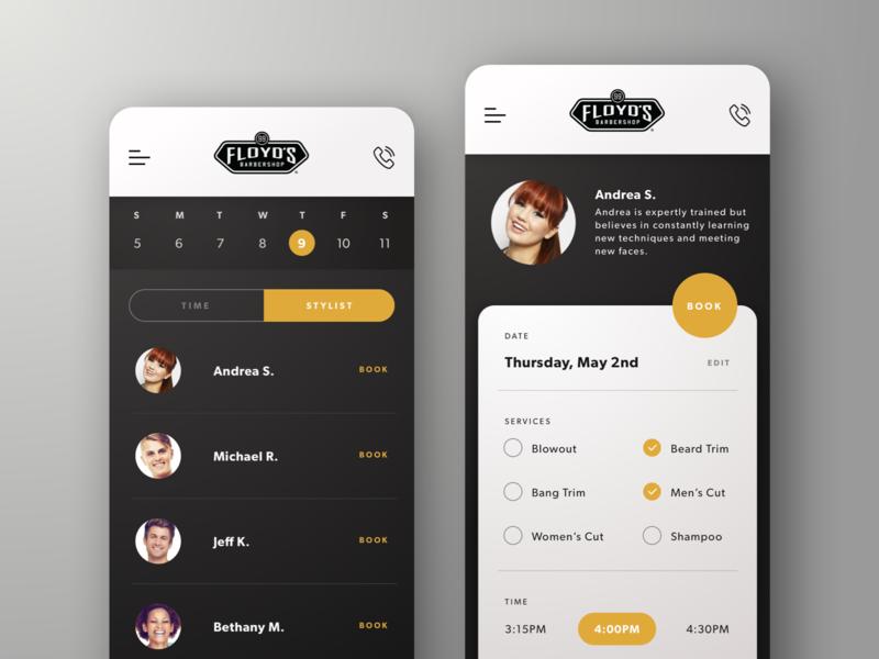 Barbershop App UI app design uiux design uiux ui ui design calendar app calendar scheduler schedule mobile app design mobile app mobile