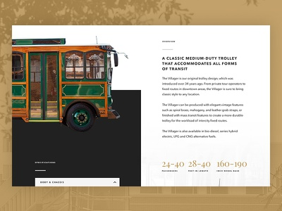 Website For Bus Company | Hometown Trolley parallax video background nostalgic vintage bold black bronze bus trolley automotive