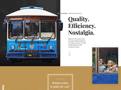 Trolley Bus Website - Hometown Trolley mass transit transportation parallax video bronze industrial design industrial hometown trolley trolley bus
