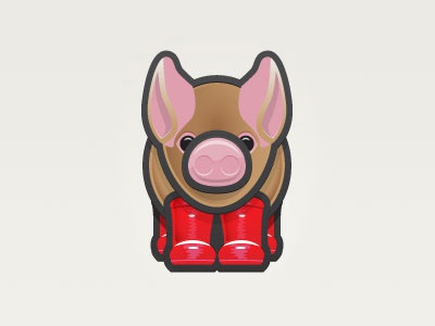 Boot Piggy icon illustration pig