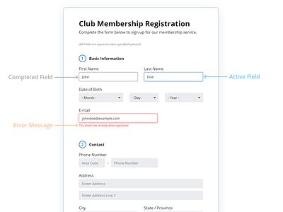 Registration Form registration registration page form fields ui uxui ux form