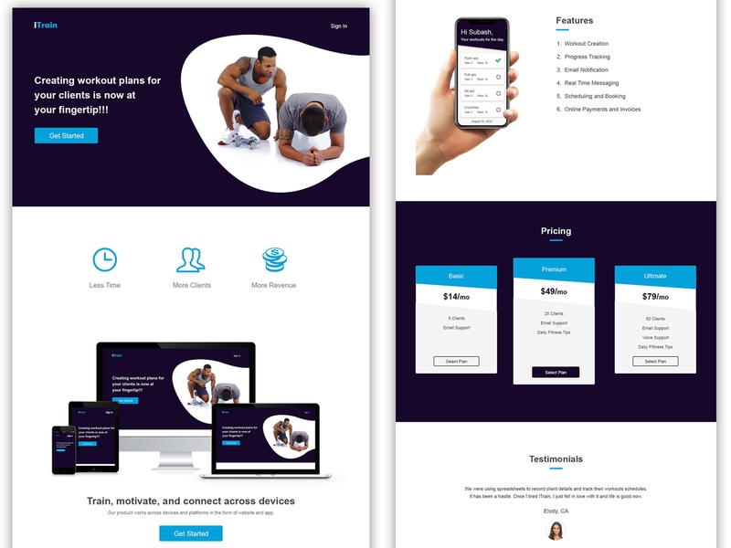 Gym Trainer - Landing Page landing page product design trainer ui design ui gym