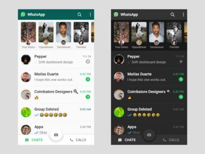 Whatsapp UI ui design android dark mode whatsapp redesign ui
