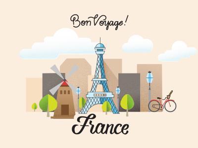 Bon Voyage France bonvoyage student work student project cityscape bike eiffletower vector lettering lettering illustration paris france
