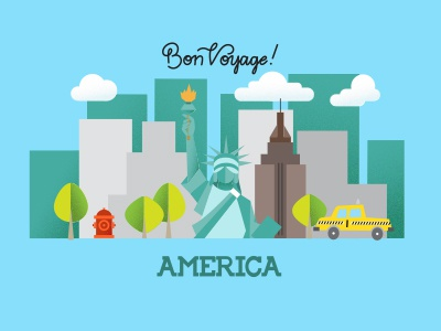 Bon Voyage America handmade type cityscape trees handlettering statue of liberty fire hydrant nyc taxi vector illustration new york america