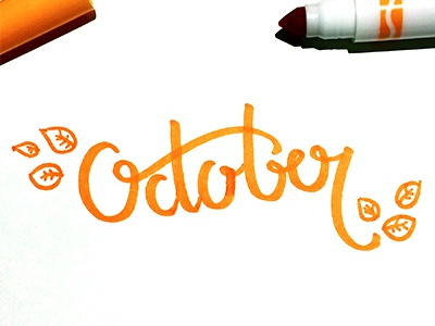 October october orange crayola handtype typography type lettering