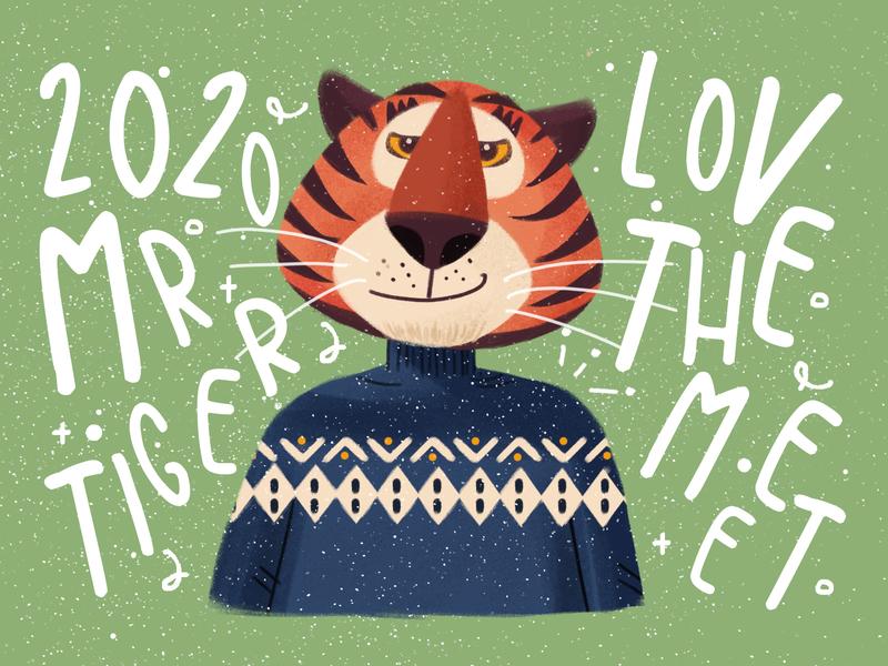 Poster of the tiger of the zodiac lovely animal tiger zodiac illustration photoshop