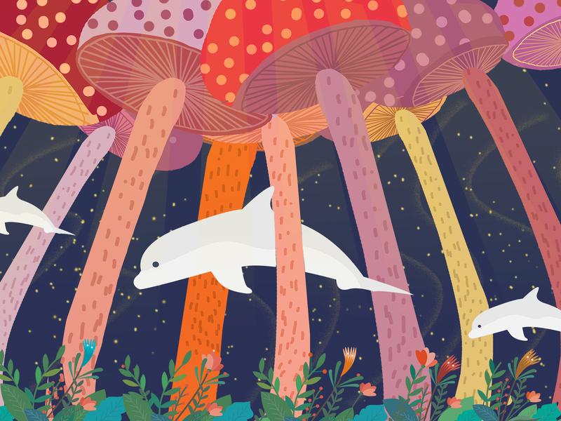 mushroom garden photoshop illustraion dolphin mushroom