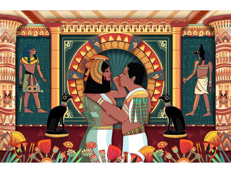 Cleopatra and Caesar pattern love illustration photoshop