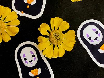 Printed No Face Stickers stickers character vector miyazaki spirited away noface ghibli cute design illustrator illustration