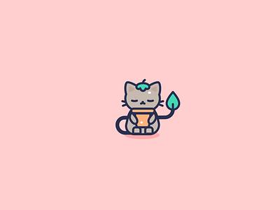 Pot kitty flat vector kawaii animal character icon design illustration illustrator neko cute cat