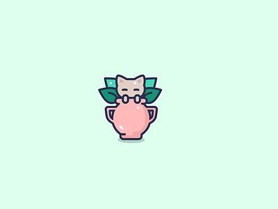 Cat hiding in a pot kawaii cat animal cute character design flat illustrator vector illustration