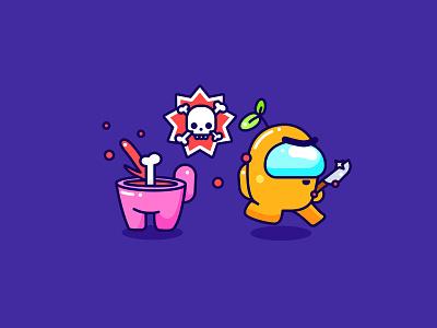So Sus aliens game kawaii skull sus amongus cute character icon design illustrator illustration