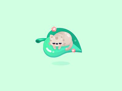 Calmly game animal flat design kawaii vector plant leaf character cat neko cute illustrator illustration