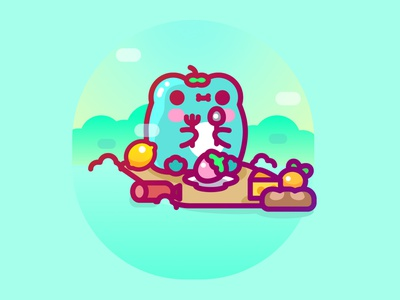 Picnic time vector design character illustrator cute picnic illustration frog