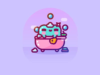 Self-care Sunday icon animal kawaii cute frog selfcare character design illustrator vector illustration