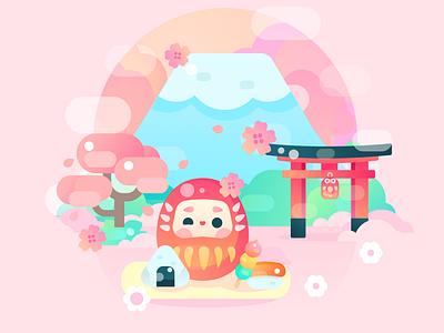sakura flat icons illustrator vector japan kawaii animal icon character design illustration