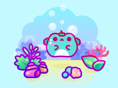 Kero swimming in the ocean ocean frog animal kawaii cute icon character design illustrator vector illustration