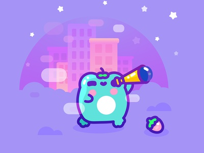 Starry night character kawaii frog flat design illustrator vector illustration