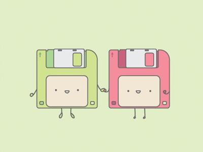 Floppy Disk Friends flat vector illustrator illustration disk floppydisk floppy