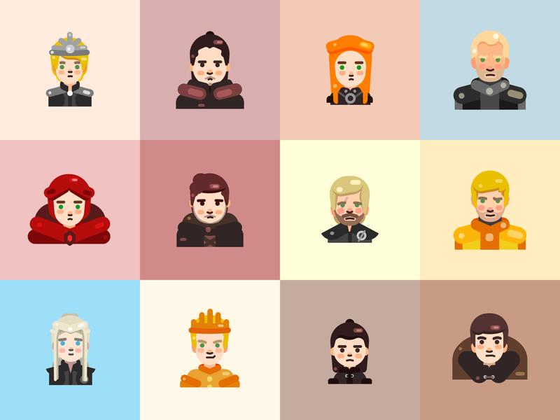 Game of Thrones design flat stark snow lannister illustrator got icon vector character illustration gameofthrones