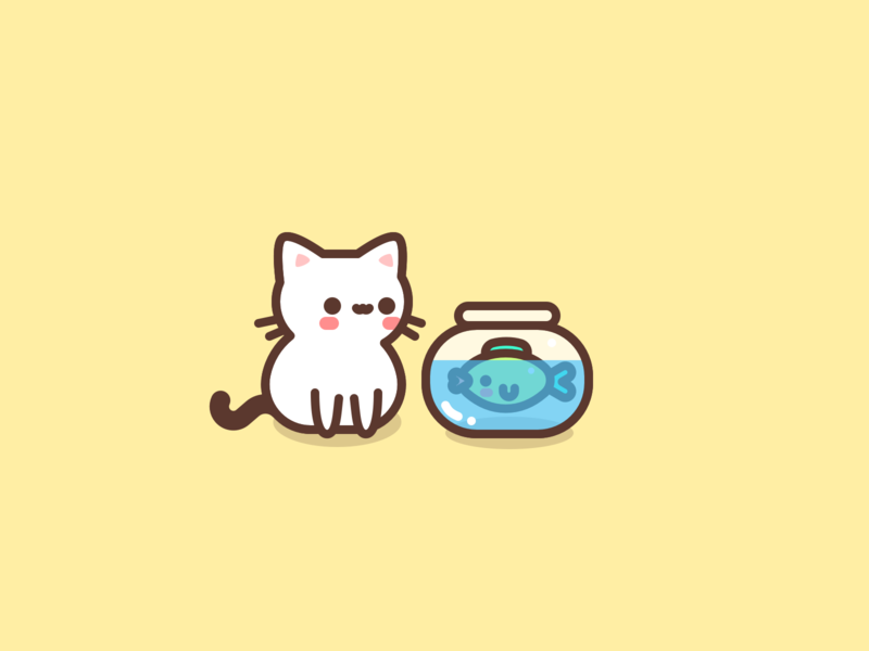 Busy Day character busy fish cute cat icons design icon flat illustrator vector illustration