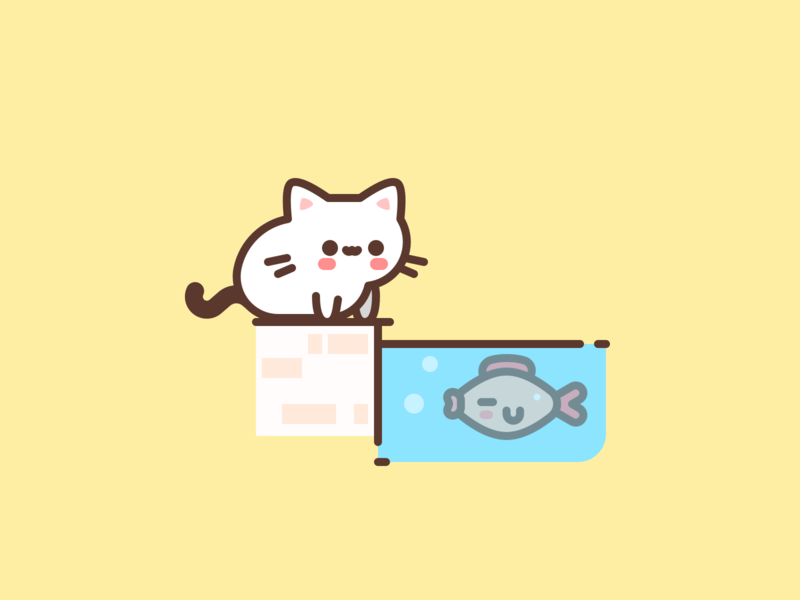 Get your lunch. cute fish animal cat character icons design icon flat illustrator vector illustration