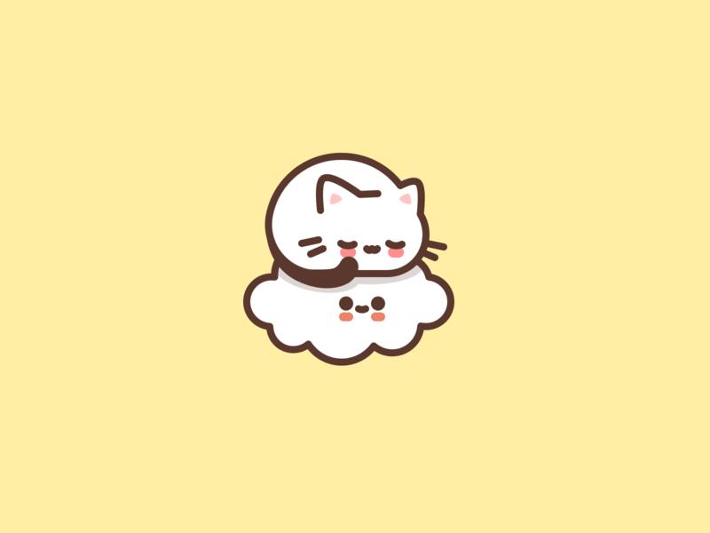 Afternoon nap. kawaii cute cloud cat animal character design flat icon illustrator vector illustration