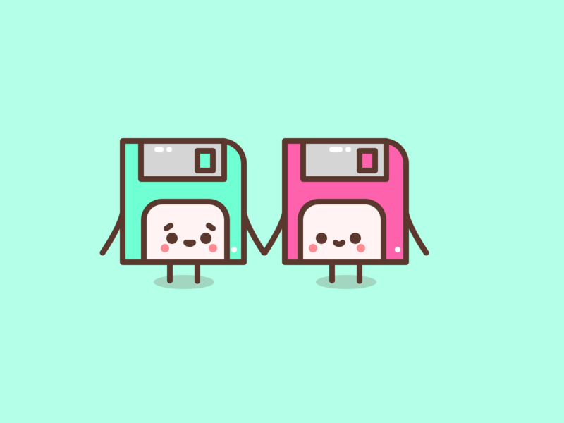 Rebound: Friendship. floppy floppy disk retro computer old disk character icons design icon flat illustrator vector illustration